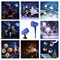 Led Projector Lights,Christmas Projector Lights Waterproof Landscape Spotlight Decor Light Holiday Lights Dynamic Lighting for Home Party Christmas, Halloween,Easter 8 Slides