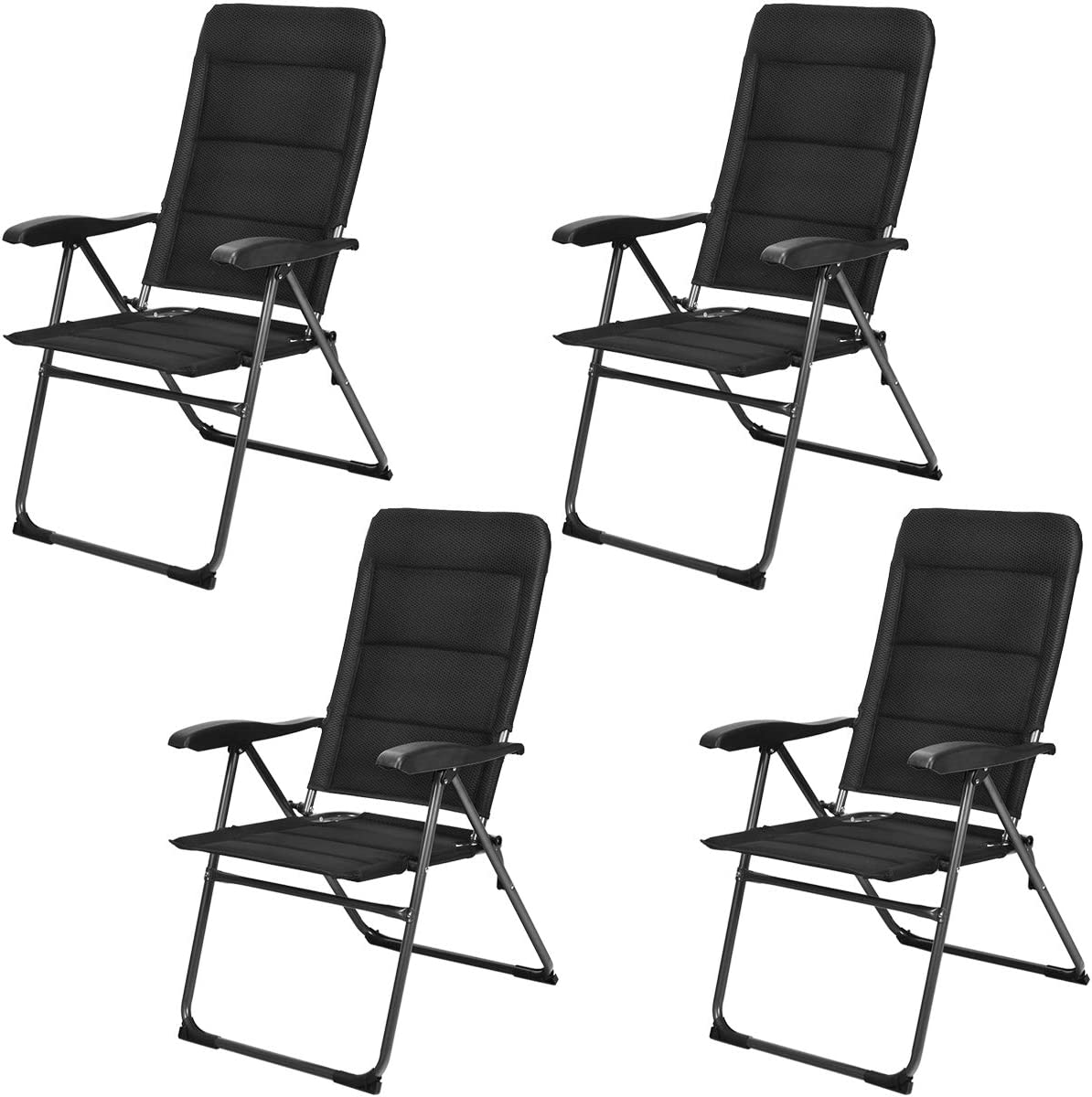 Giantex Set of 4 Patio Chairs, Folding Chairs with Adjustable Backrest, Outdoor Sling Chairs for Bistro, Deck, Backyard, Armchair with Padded Seat, 300 lbs Capacity 4, Black