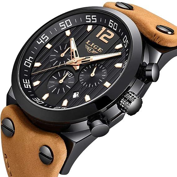 LIGE Relojes para Hombres Impermeable Militar Cronógrafo Análogo Cuarzo Dial Grande Marrón Correa de Cuero Reloj Negro: Amazon.es: Relojes