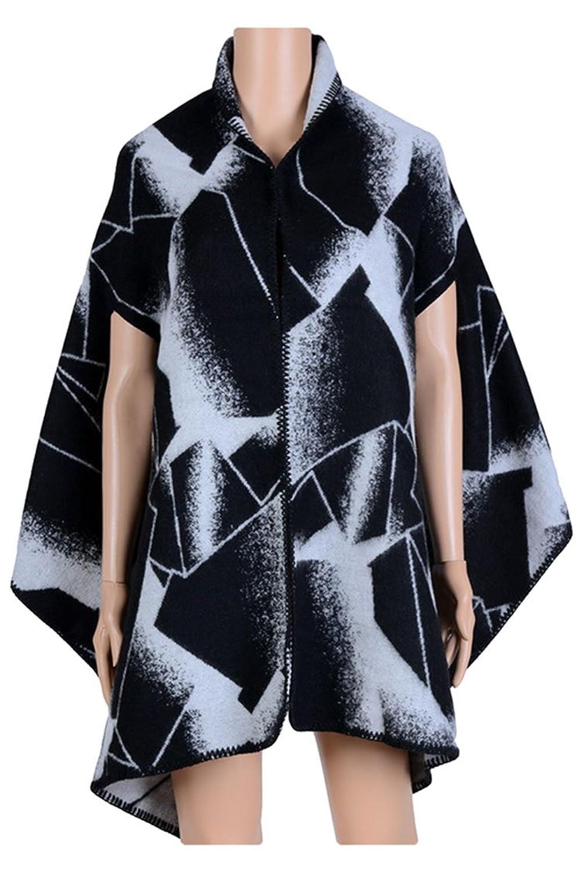 d8c4f4d04 chic Rokiney Women Geometric Pattern Color Block Blanket Poncho Cape Shawl  Cardigans