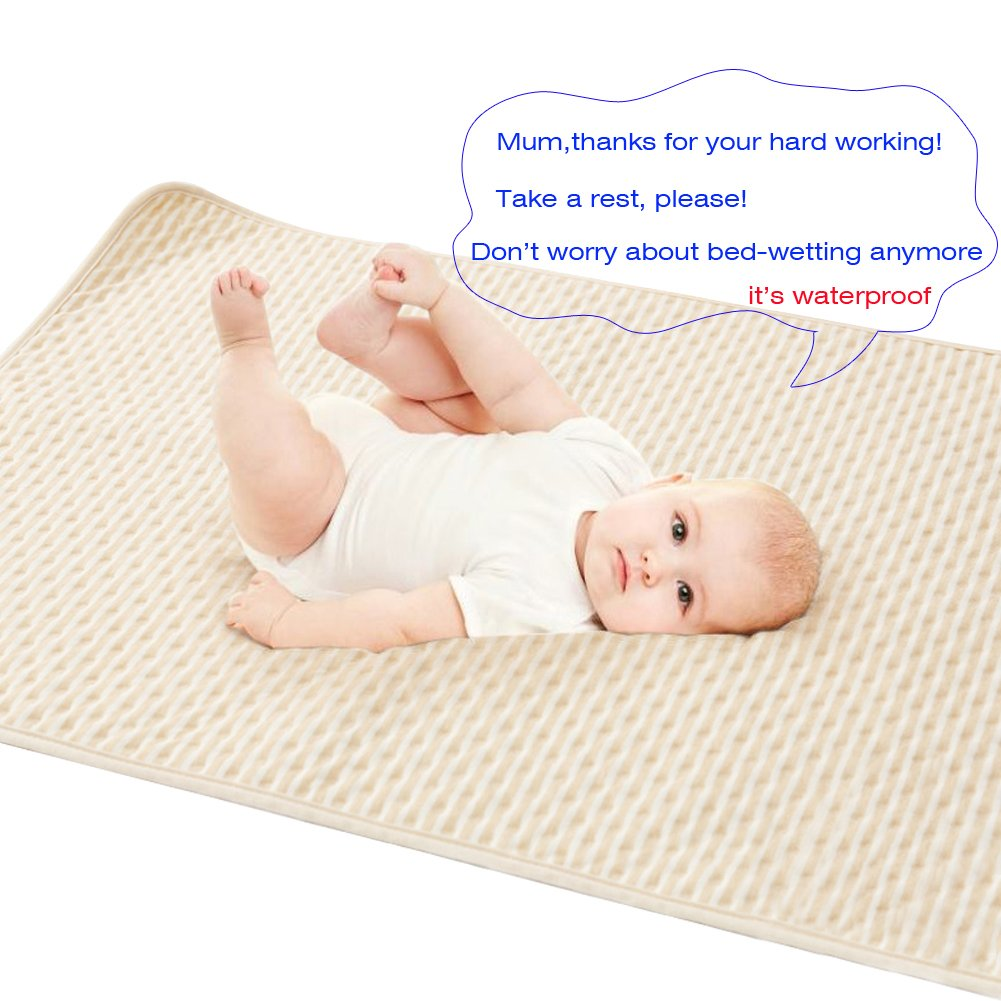 "Natural Organic Cotton Waterproof Bed Pad Absorbent Pads Underpads Sheet Protector Bed-Wetting Changing Mat Crib Mattress Protector for Baby Infants Toddlers Pet Incontinence Adults(Brown,19.6""27.5"")"