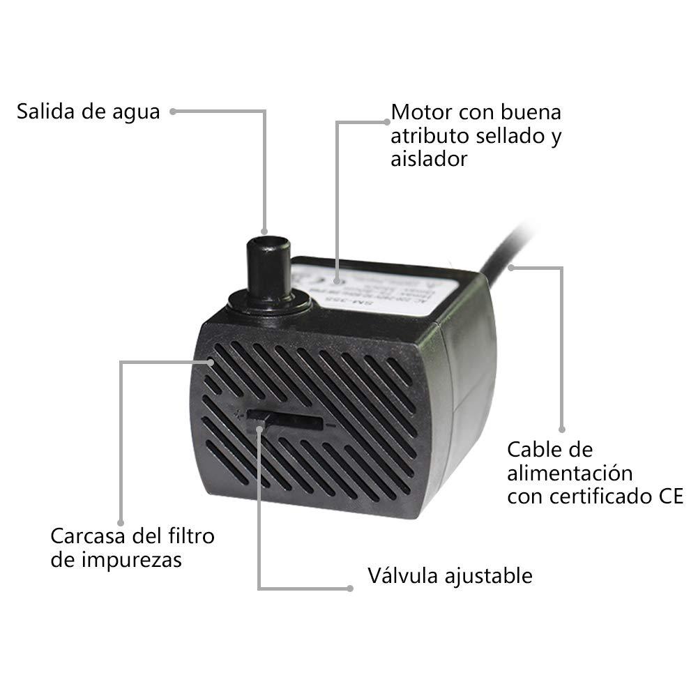 Homvik Mini Bomba de Agua Sumergible 350L/H 5W Bomba Agua Ultra Silencioso para Acuario Estanque Pecera y Fuente de Agua Mascotas Circulación de Agua ...