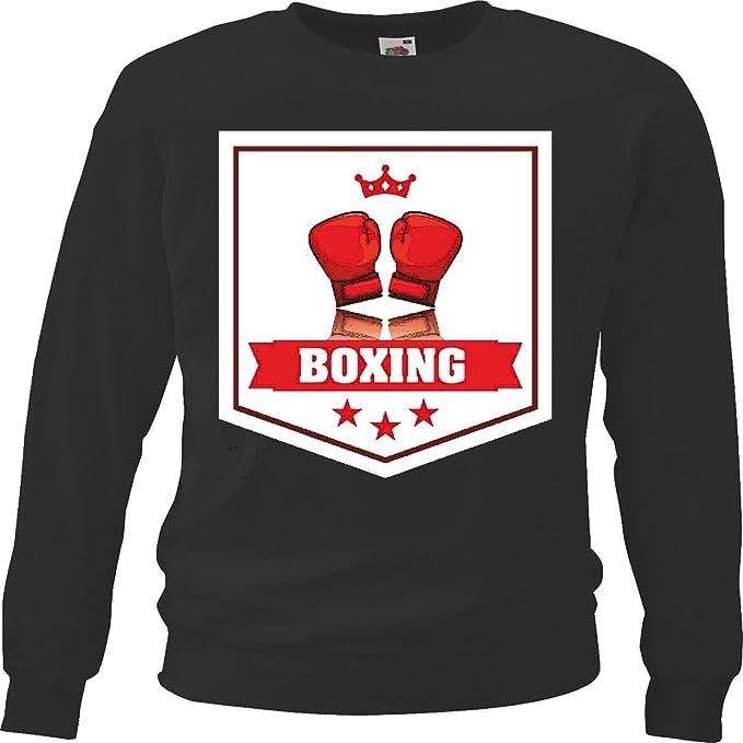 Sudaderas Suéter Rey Boxeo Club de Boxeo Guantes de Cuadro Rocky Stallone Sparring Boxeador in Negro: Amazon.es: Ropa y accesorios