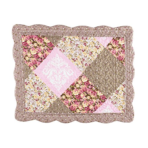 Collections Etc Clara Floral Patchwork Pillow Sham, Diamond Patches with Quilted Stitching