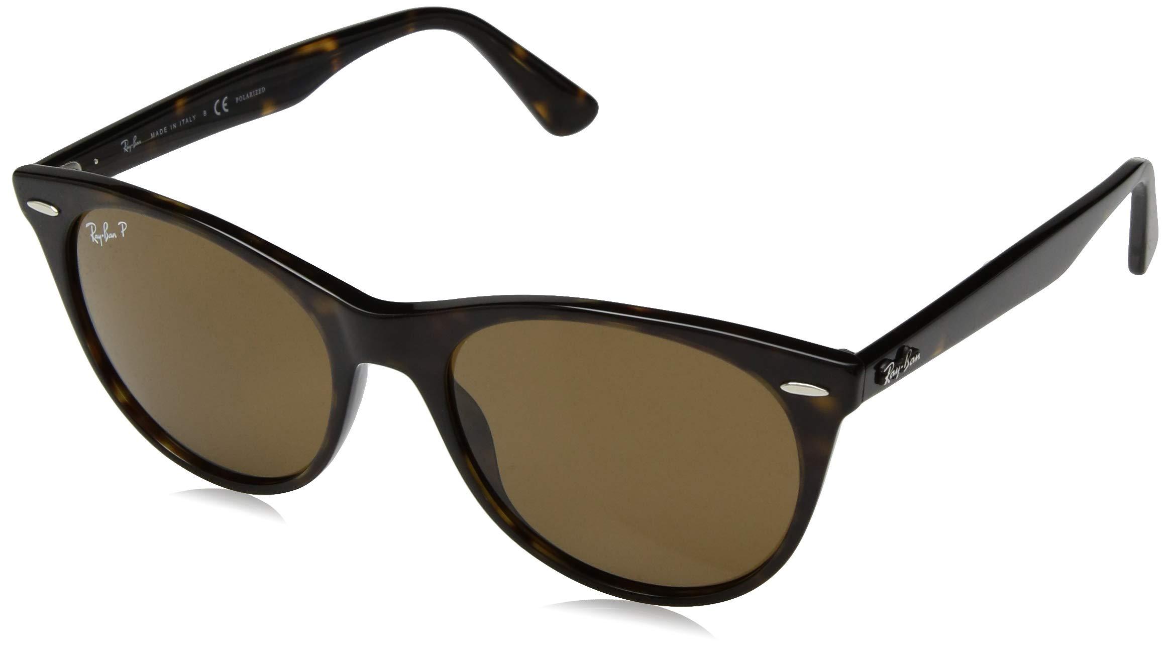 Ray-Ban RB2185 Wayfarer II Sunglasses, Striped Havana/Polarized Crystal Brown, 55 mm