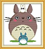 "Good Value Stamped Cross Stitch Kits Beginners Kids Advanced - Totoro 13""X14"", DIY Handmade Needlework Set Cross-Stitching Pre-printed Patterns Embroidery Home Decoration"