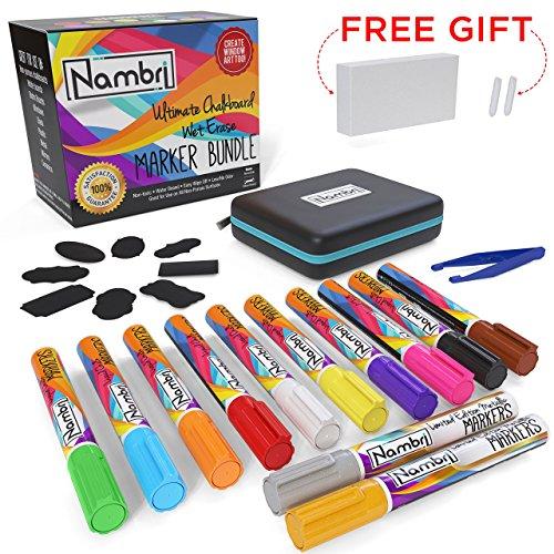12 Liquid Chalk Markers Set - Erasable Brightsticks - Gold & Silver Metallic Liquid Pens - 16 Chalkboard Labels - 2 Spare Reversible Tips with Tweezers Eraser & Case By (Silver Chalk)