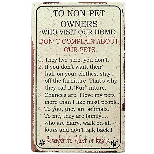 Lovers Gift Tin (Pet Owner Home Rules for NON Owners Funny Metal Sign by Oh!)