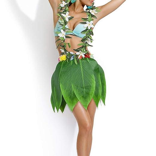 Funpa 6 Set Hawaiian Costume Party Supplies Grass Skirt Headband Bracelet Lei Costume Set for Hawaiian Luau Party Dress Up & Pretend Play Toys & Games