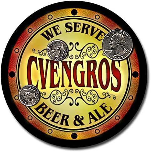 Cvengros Family Name Beer and Ale Rubber Drink Coasters - Set of 4