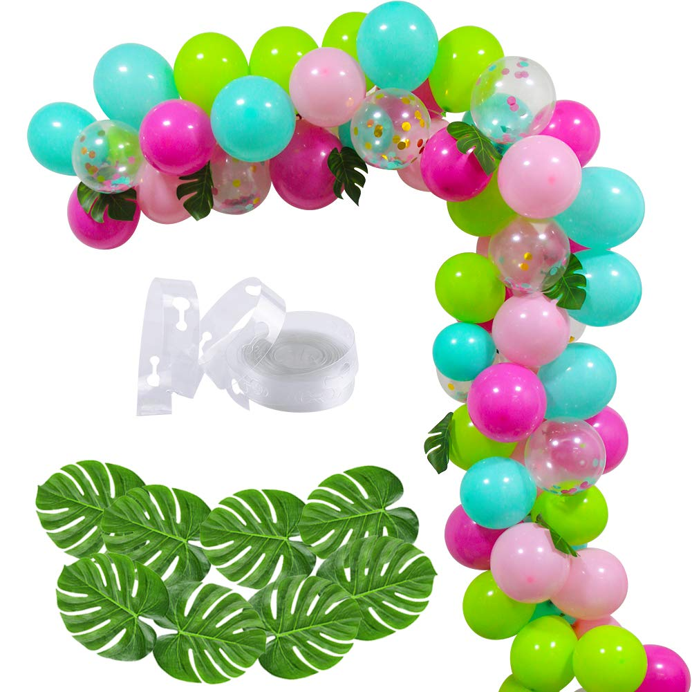 70 PCS DIY Balloons Garland with Blue Green Hotpink Confetti Balloons, Hawaii Flamingo Tropical Themed Party Supplies for Birthday Party Hawaii Luau Summer Beach Party Supplies