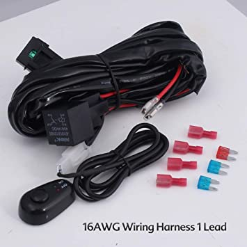 300W LED Working Light Bar Wiring Harness Off Road Power 40A Relay Fuse ON-Off Switch