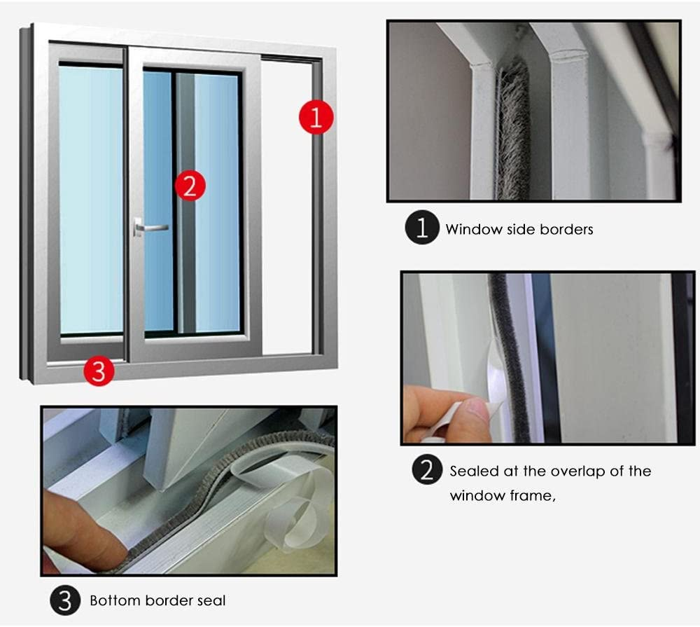 Aolvo Burlete autoadhesivo para ventanas y puertas, de silicona transparente, 5 m: Amazon.es: Hogar