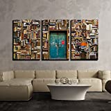 wall26 - 3 Piece Canvas Wall Art - Antique Building with a Wall of Books - Modern Home Decor Stretched and Framed Ready to Hang - 24''x36''x3 Panels