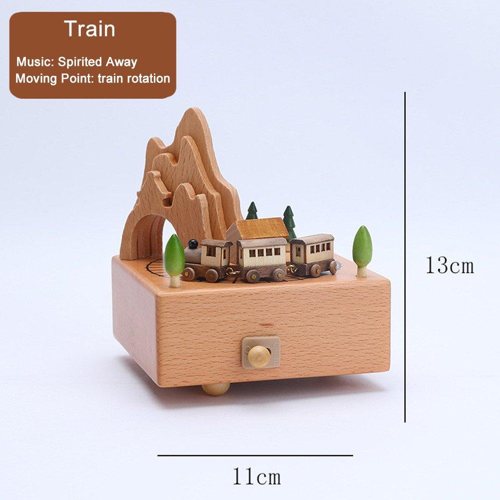 Boîte à Musique en Bois Carrousel Mécanique Boîte à Musique Enfant Chambre Décoration Belle Sélection de Cadeaux Gorgebuy Petit train