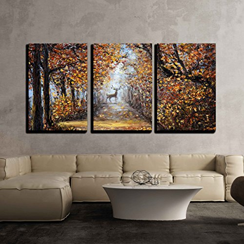 (wall26 - 3 Piece Canvas Wall Art - Deer at The End of Path.Modern Impressionism, Modernism,Marinism - Modern Home Decor Stretched and Framed Ready to Hang - 16