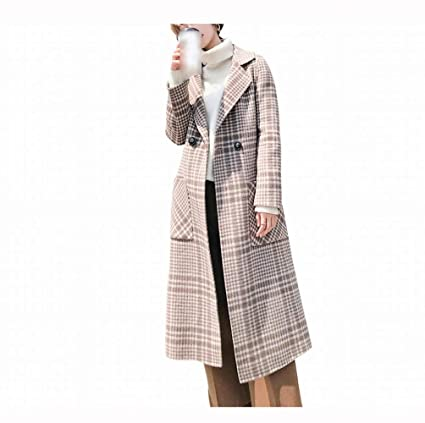 4318bffc45 PLLP Plaid Fashion Trend Coat, Street Versatile Comfortable Large Lapel  Woolen Coat, Slim Long