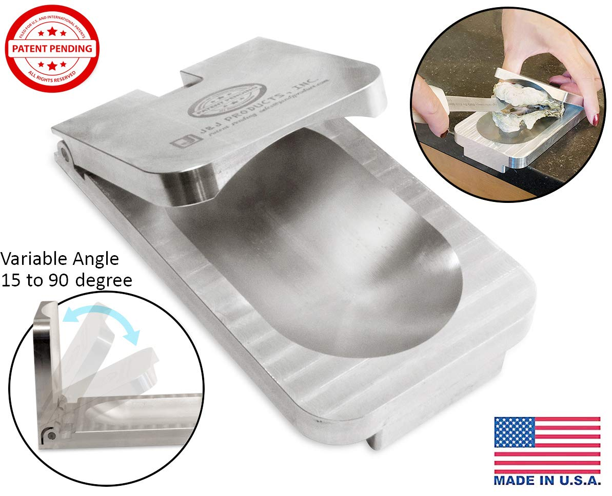 [ J&J Products ] The EZ - Oyster Variable Angle Opener Shucking Tool – Solid Aluminum Construction; Dishwasher Safe; New Updated Variable Angle Design, Easily Holds Different Size Oysters