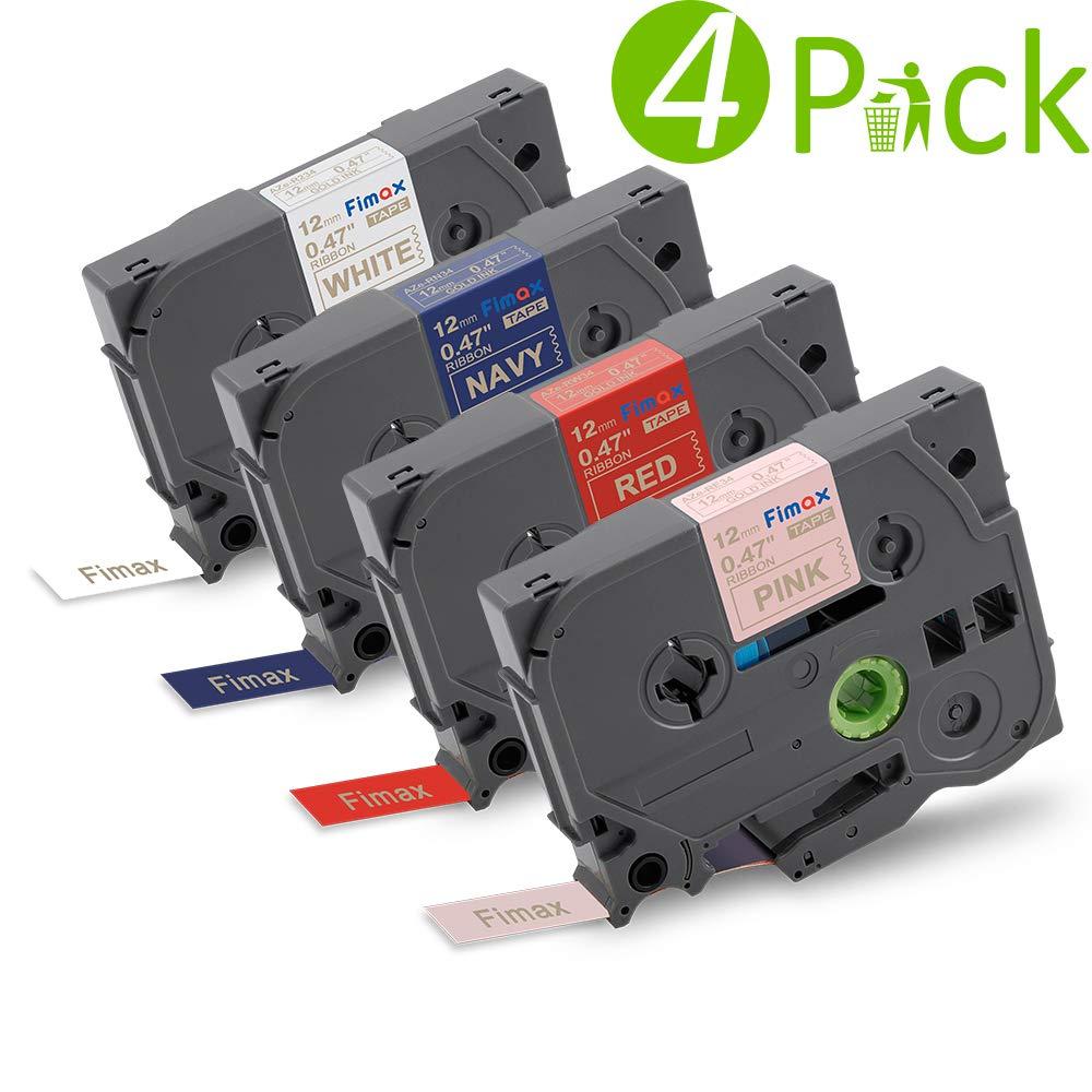 6er Packung Etikettenband / Schriftband (ä quivalent zu Brother Brother P-touch TZe131-731), schwarz auf transparent/ weiß / rot/ blau/ gelb/ grü n, fü r P-Touch Etikettendrucker D400 H101TB 105WB H100LB Fimax Tech FM-131-731-6