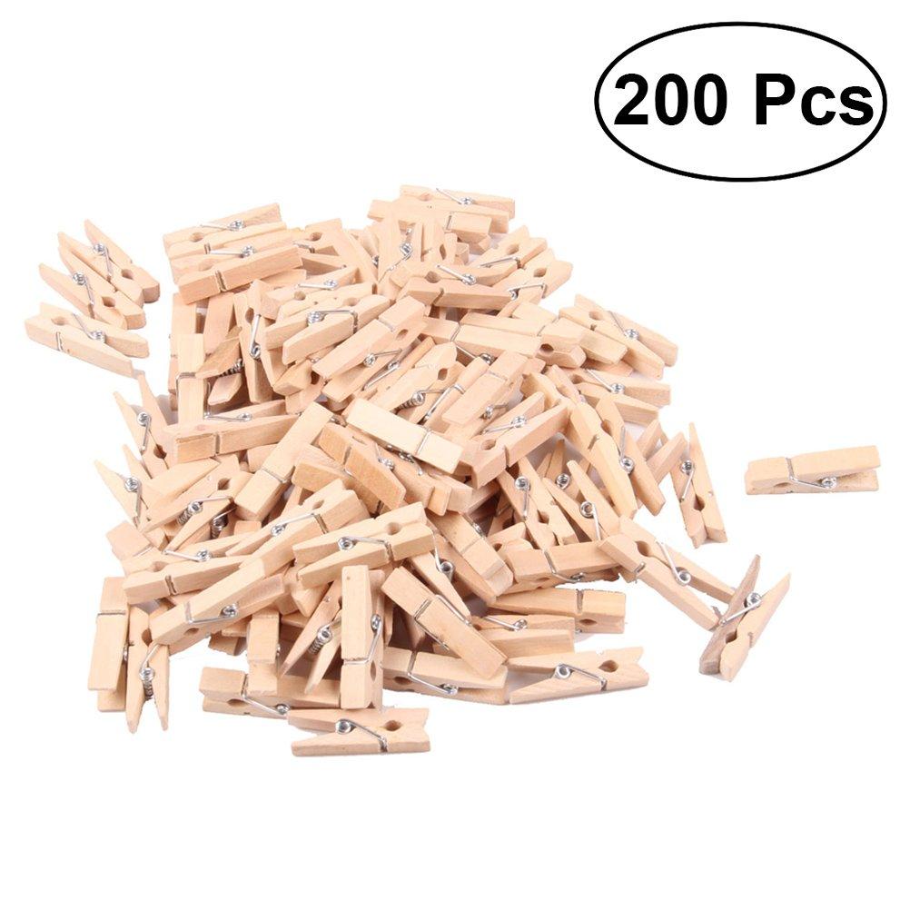 BESTOYARD 200 Pezzi Mini Mollette legno foto per decorazioni in Rosa Rosso