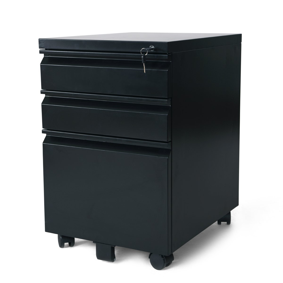DEVAISE 3 Drawer Mobile File Cabinet with Lock - Black