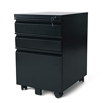 Delicieux DEVAISE 3 Drawer Mobile File Cabinet With Lock, Black