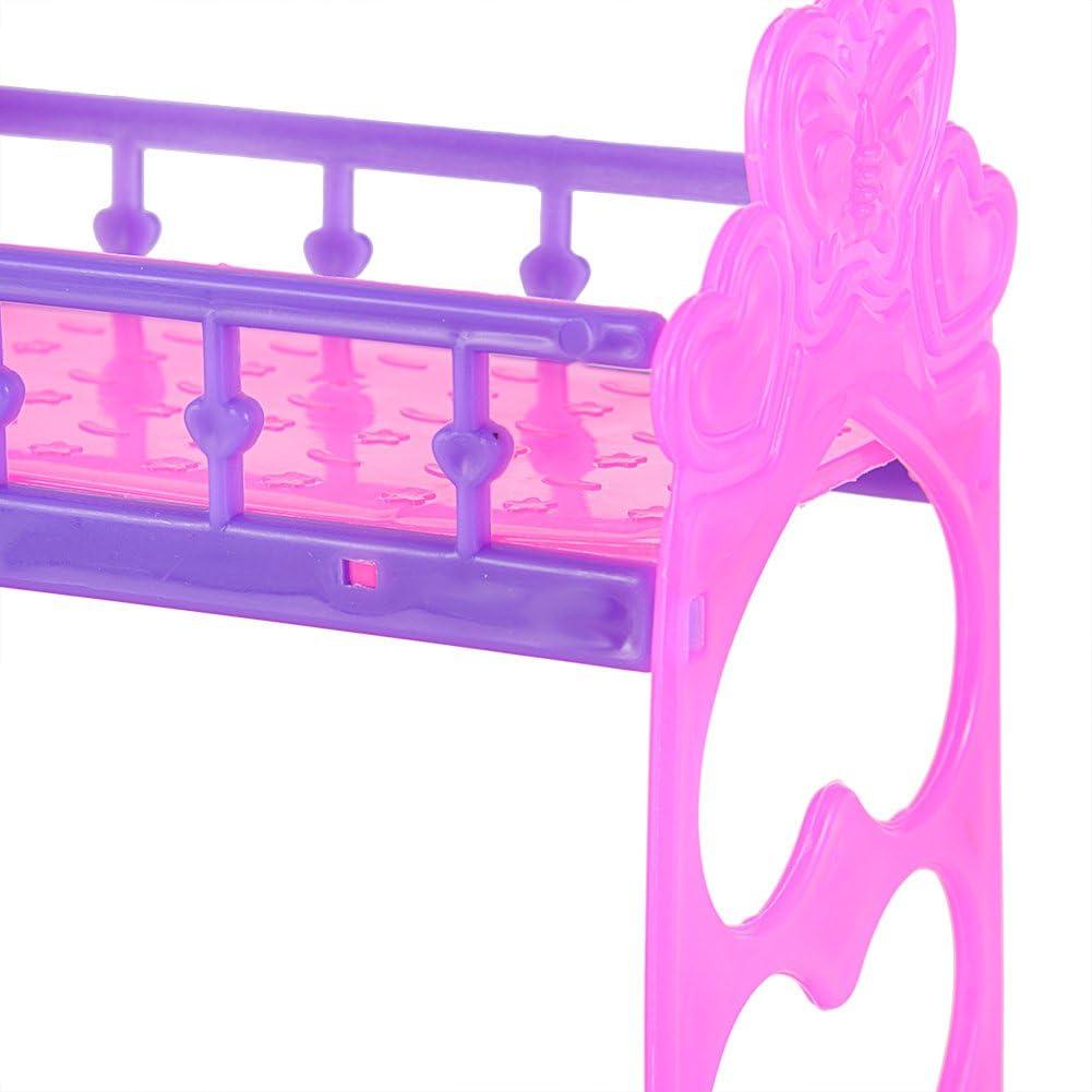 Set di Accessori per la casa Lanlan Cute 3,5 Pollici in plastica Letto Doppio Telaio per Kelly Barbie Doll mobili della Camera da Letto Accessori Viola Yiwa Rosa o Giallo Colore Casuale