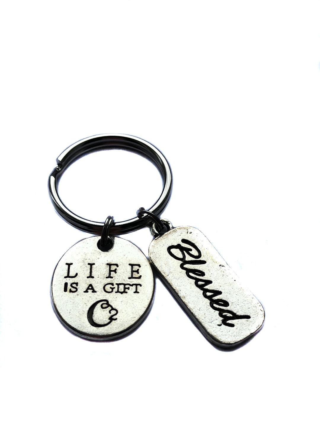 """""""Life Is A Gift"""" Tree Of Life, """"Blessed"""" Charm, Keychain, Key Chain, Bag Charm, Inspirational Gift"""