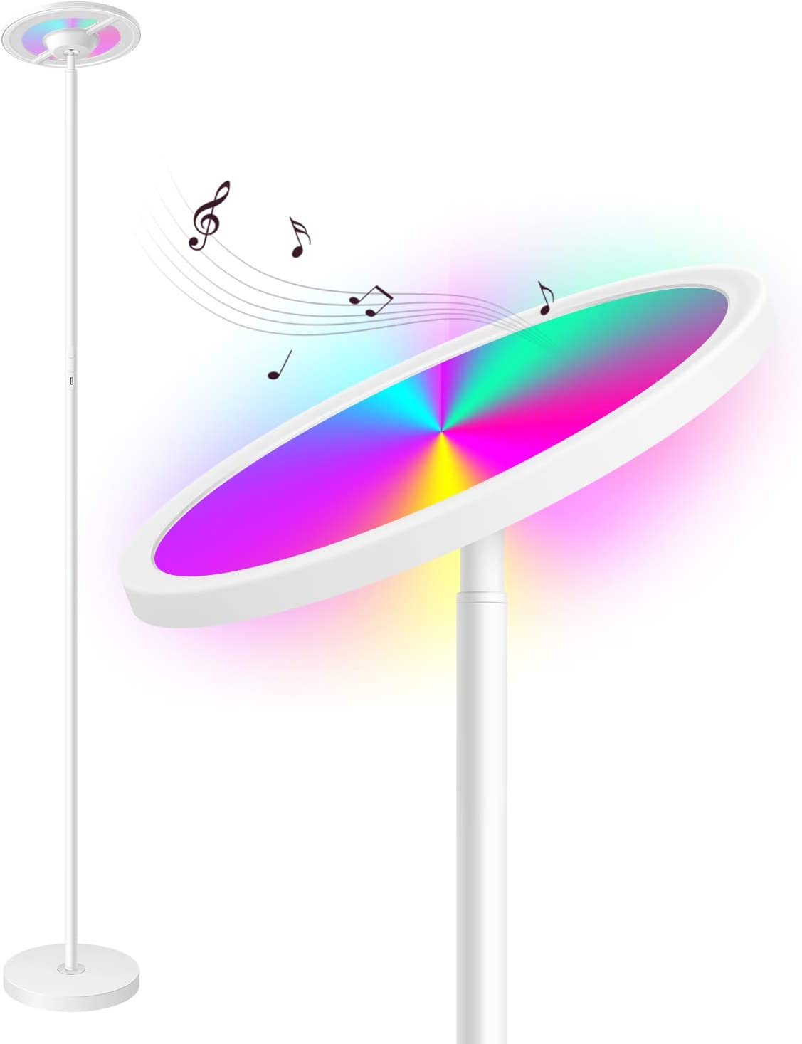 Torkase 66 in. Smart Floor Lamp Works with Alexa Google Home, Color Changing Sky LED Torchiere, 2000LM Super Bright, App & Touch Control for Living Room Bedroom Office Reading & Decor-White