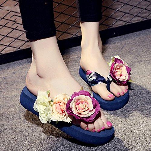 de Couleur Taille Sandales Rouge Marron Chaussons Noir 3 Femmes EU36 Bleu 5 pour pour Femmes Bleu Chaussures UK3 Beige Bleu 5cm Femme Blanc HAIZHEN Mode d'été CN35 1qH1zwY