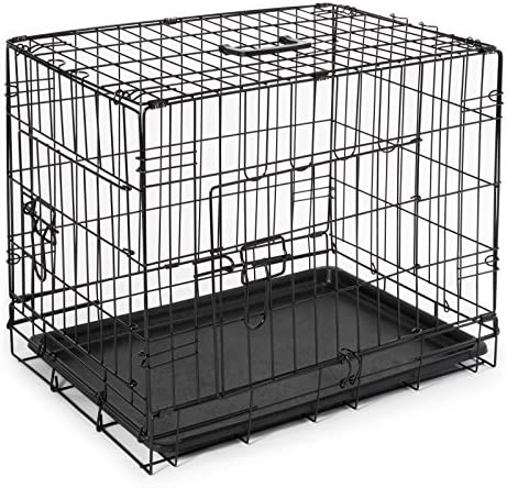 SmithBuilt Folding Metal Dog Crate – Double Door Cage – 30 Length