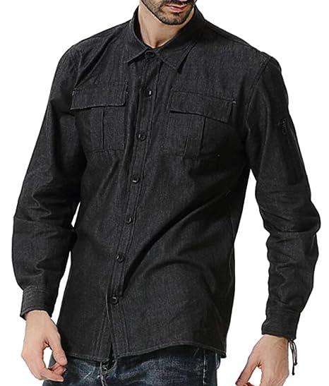 f2feb580313 SBABY Mens Slim Fit Zipper Long Sleeve Button Down Jean Shirts Black M