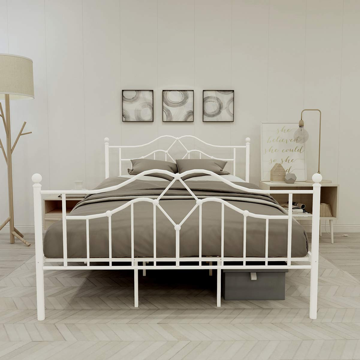 Alazyhome Metal Bed Frame Queen Size Platform No Box Spring Needed with Vintage Headboard and Footboard Premium Steel Slat Support Mattress Foundation White