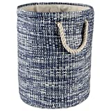 DII Woven Paper Basket or Bin, Collapsible & Convenient Home Organization Solution for Bedroom, Bathroom, Dorm or Laundry (Large Round - 15x20) - Nautical Blue Tweed