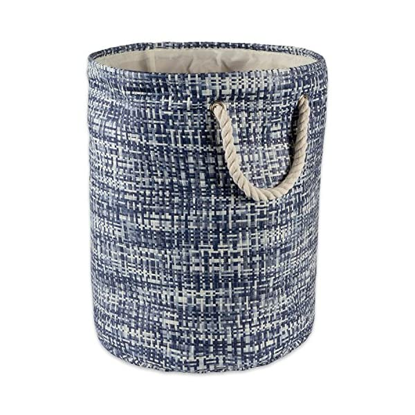 DII Woven Paper Basket or Bin, Collapsible & Convenient Home Organization Solution for Bedroom, Bathroom, Dorm or Laundry (Large Round – 15×20″) – Nautical Blue Tweed