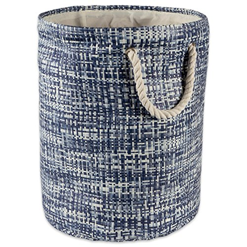 "DII Woven Paper Basket or Bin, Collapsible & Convenient Home Organization Solution for Bedroom, Bathroom, Dorm or Laundry (Large Round - 15x20"") - Nautical Blue Tweed"