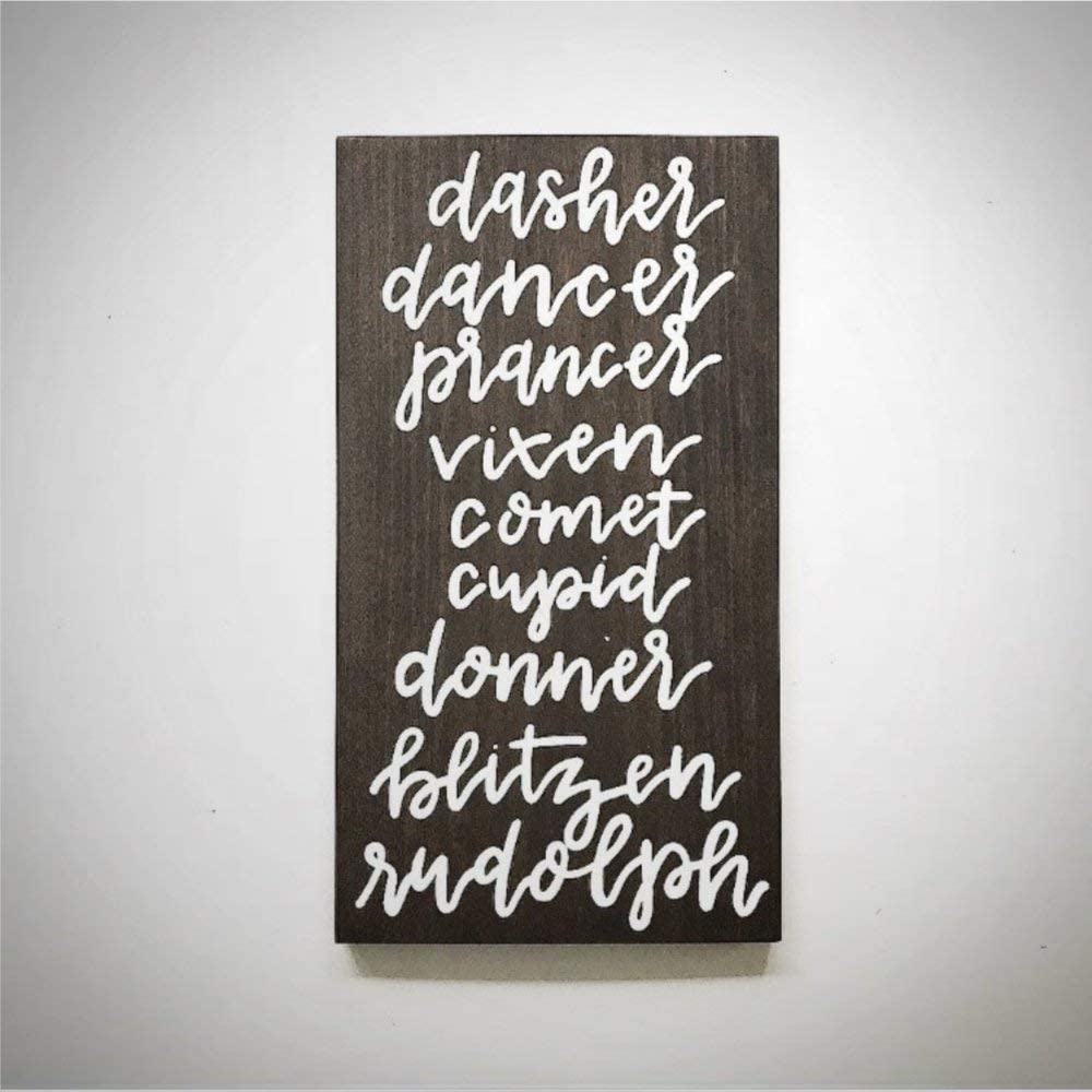 BYRON HOYLE Dasher Dancer Prancer Vixen Wood Sign,Wooden Wall Hanging Art,Inspirational Farmhouse Wall Plaque,Rustic Home Decor for Living Room,Nursery,Bedroom,Porch,Gallery Wall