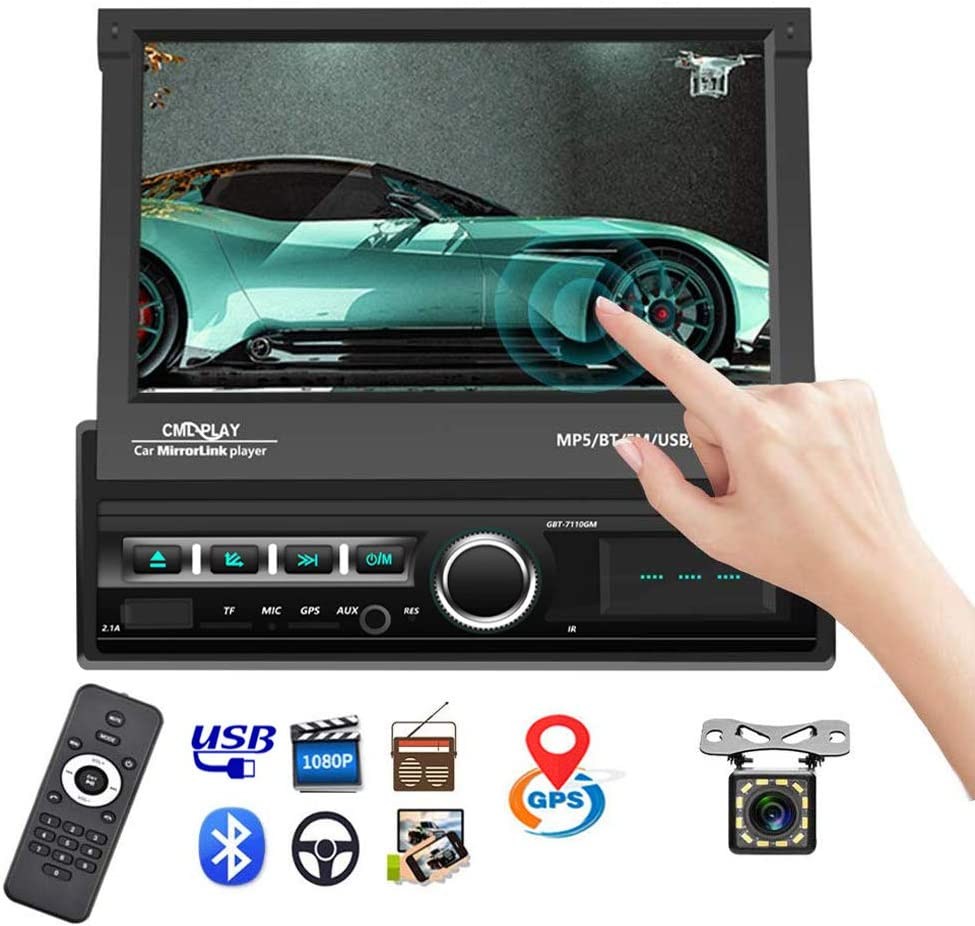 "Single Din Car Stereo Navigation Car Radio 7"" Motorized Touch Screen Bluetooth Head Unit Support GPS/FM Radio/AUX-in/USB/SD/Android iOS Mirror Link + 12 IR Car Backup Camera + Wireless Remote"