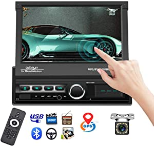 """Single Din Car Stereo Navigation Car Radio 7"""" Motorized Touch Screen Bluetooth Head Unit Support GPS/FM Radio/AUX-in/USB/SD/Android iOS Mirror Link + 12 IR Car Backup Camera + Wireless Remote"""