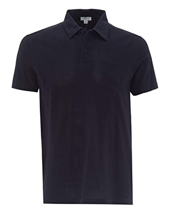 1669f68c Sunspel Riviera Short Sleeve Cotton Polo Shirt in Navy Blue Small