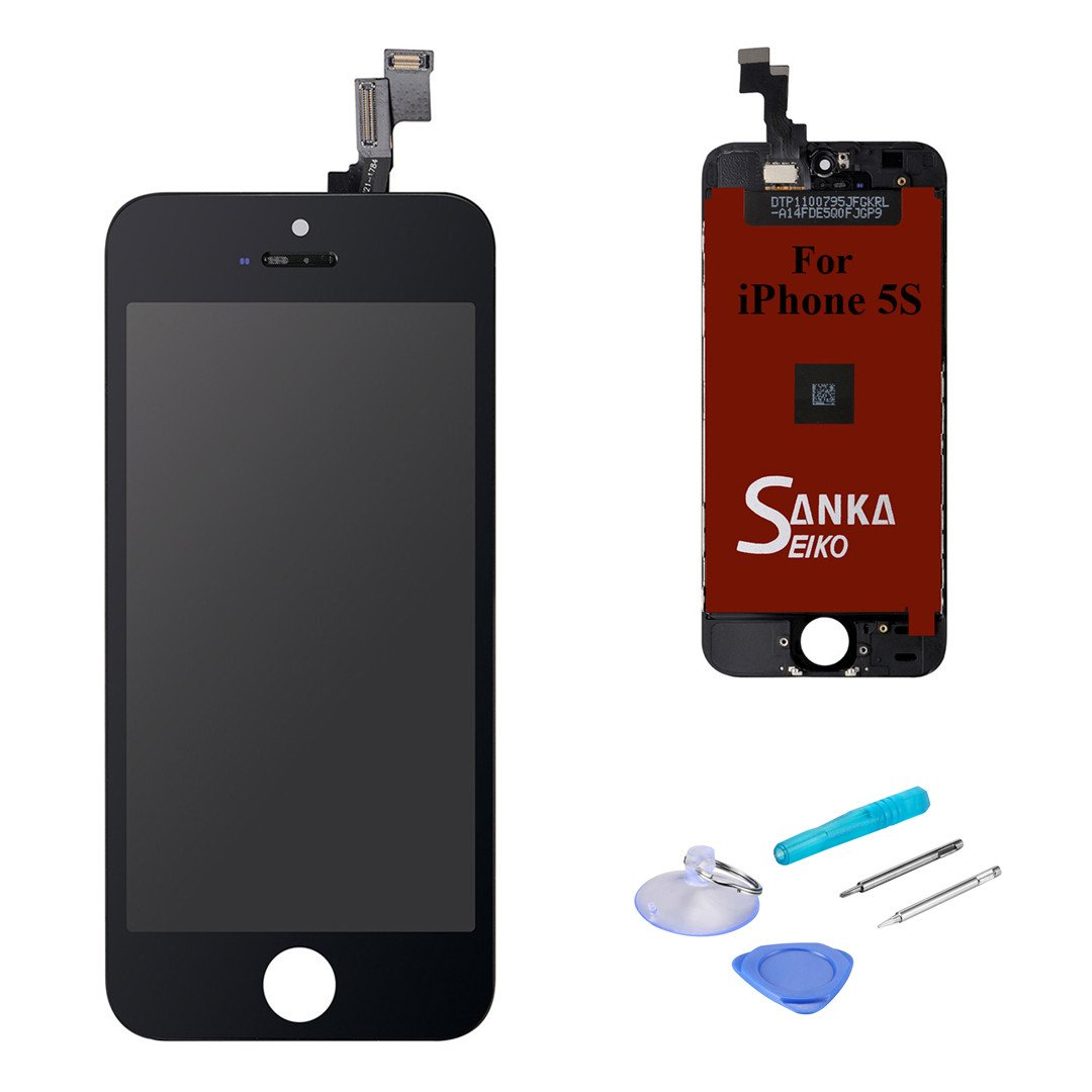 SANKA LCD Screen Replacement Retina Touch Screen Digitizer Display Glass Frame Assembly for iPhone SE - Black (Free Repair Tools Included)