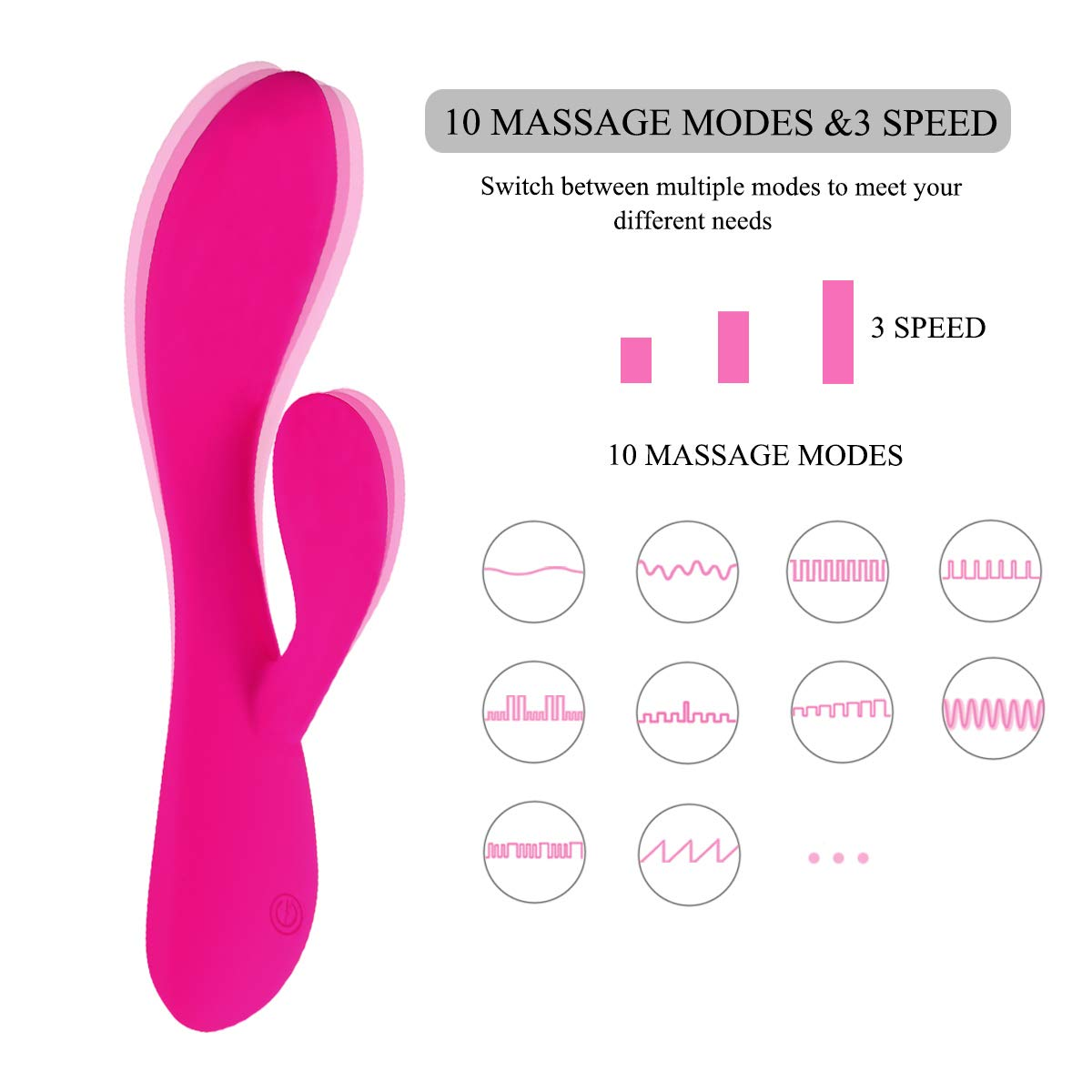 Portable Hand-Held Personal Massager Skin-Friendly 10 Kinds of Silent Massage Modes Which Can Relieve Muscle Soreness and Exercise Recovery Pink