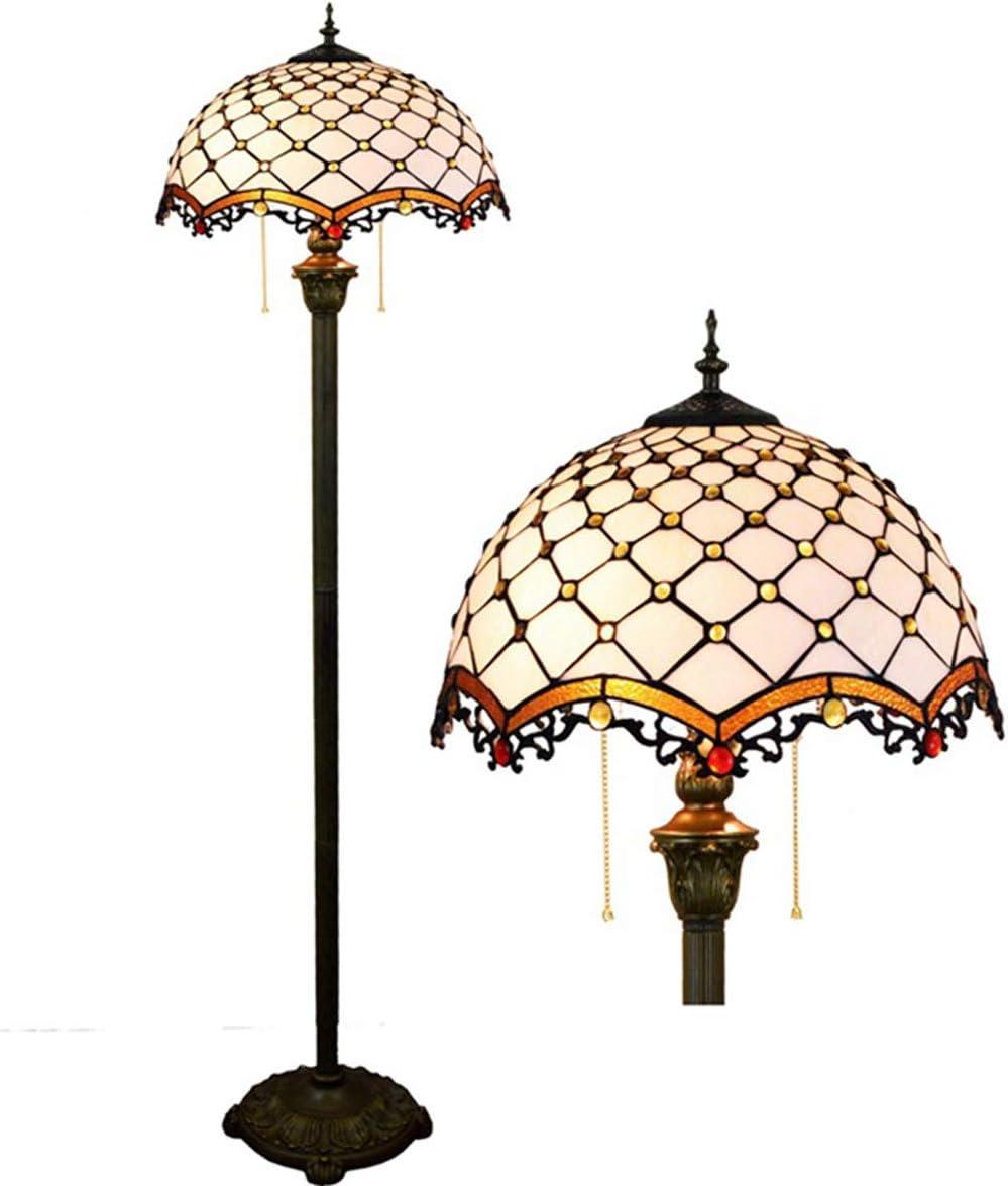 Gdlight Tiffany Stil Stehlampe Kristall Perle Glasmalerei Lesen