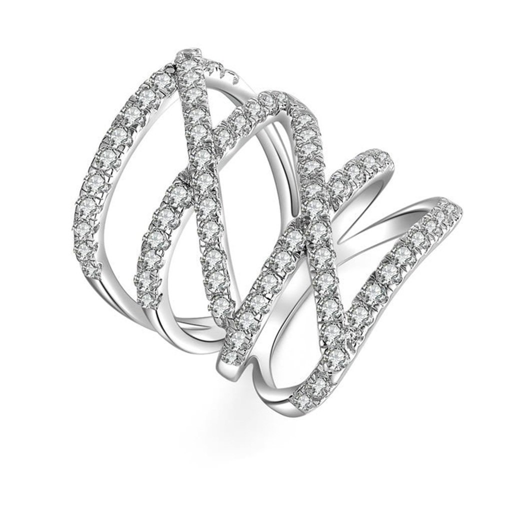 KnSam 925 Sterling Silver Cubic Zircons Promise Ring Double Cross White Cz Sz 511