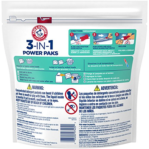 Amazon.com: Arm & Hammer Sensitive Skin He 3-in-1 Laundry Power Paks, 17 Count: Health & Personal Care