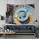 Anniutwo Clock Large tablecloths Prague Astronomical Clock in The Old Town an European Medieval Landmark of City Wall Hanging Tapestries W84 x L54 (inch) Blue and Yellow