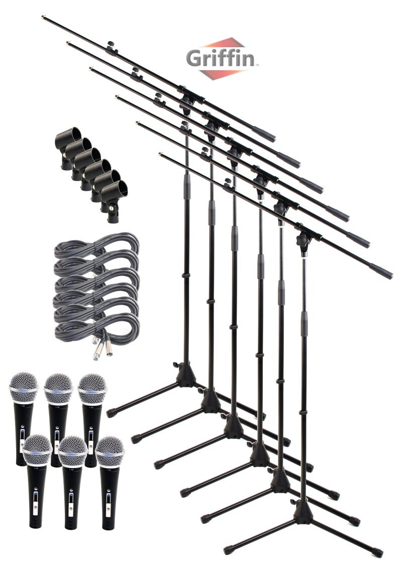 Microphone Boom Stand Package with Cardioid Vocal Microphones & XLR Mic Cables (Pack of 6) by Griffin | Telescoping Arm Holder with Tripod Mount|Handheld Unidirectional Mics for Music Studio Recording