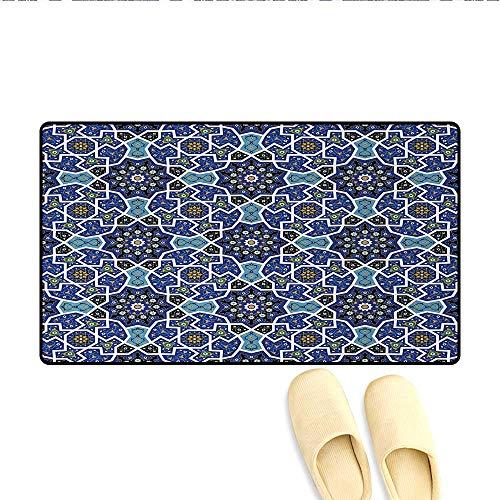 (Doormat,Eastern Persian Gypsy Jacquard Style Arabic Culture Folk Tracery Geometric Image,Bath Mats Carpet,Royal Blue,Size:24