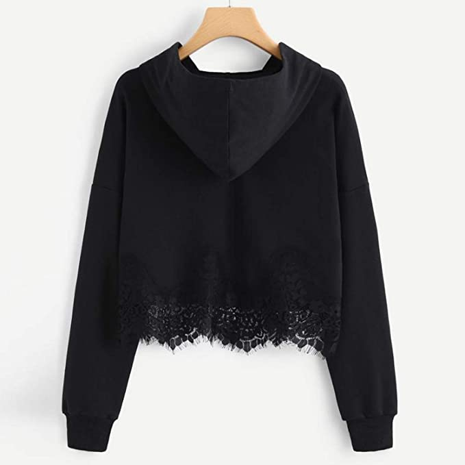 Women Casual Lace Crop Hoodies Sweatshirts Long Sleeve Short Hooded Sweatshirt Pullover 2018, Black, M, at Amazon Womens Clothing store: