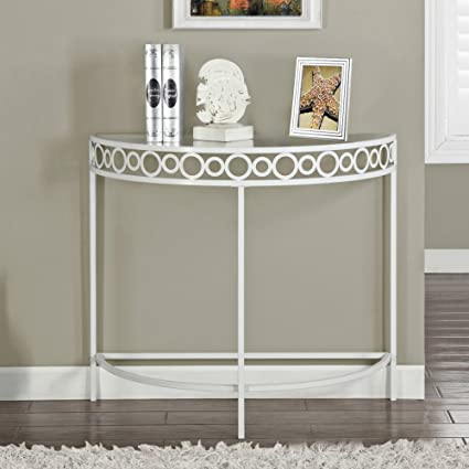 Delicieux Monarch Specialties I 2122 White Metal Hall Console Accent Table, 36u0026quot;